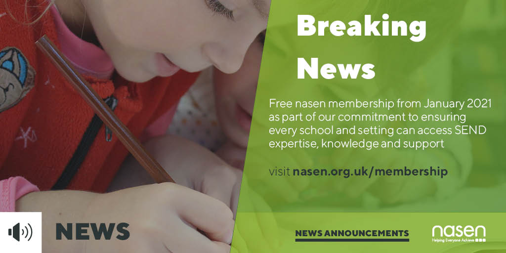 NEWS: 'nasen widens SEND support with free membership for all from January 2021'. Read the full article from @EdTodayMag here: https://t.co/UizGTDlzn6 https://t.co/mEjte49n7t