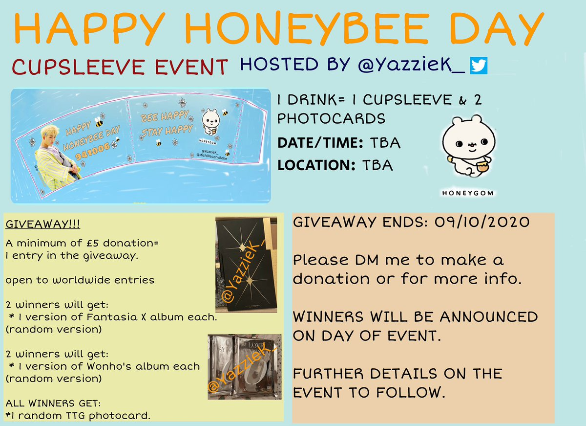 ‼️MONBEBE‼️ i am hosting a birthday cupsleeve event in London for our honeybee Jooheon. please read thread for further details   I am doing a GIVEAWAY, open to wordwide Monbebe!! (check picture for further details)  1 donation of £5= 1 entry GA ends 09/10/2020 DM me for questions https://t.co/4BoAoYcVol