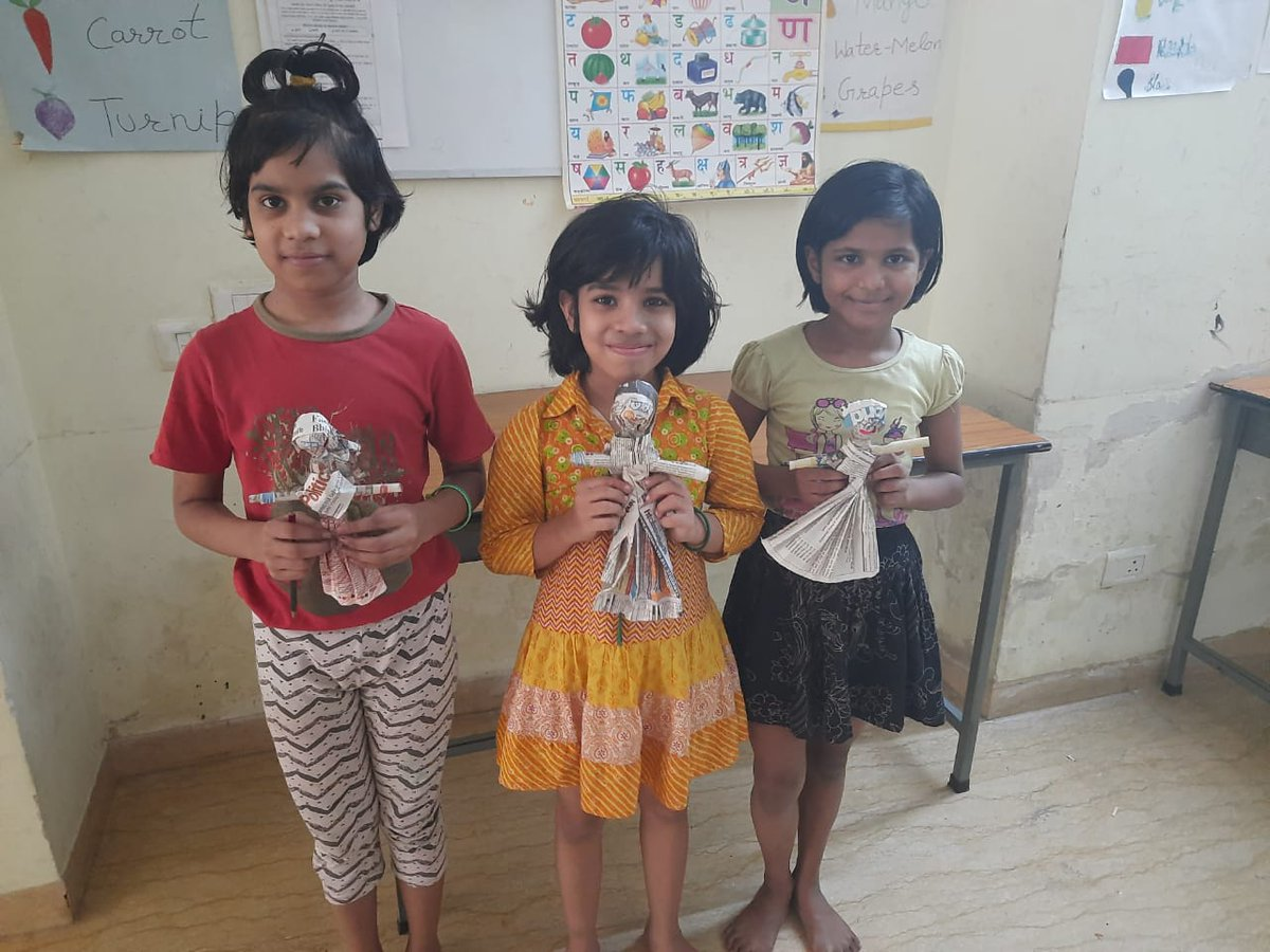 Giggles, creativity and empathy filled the little hearts of our children at Udayan Ghar while they were busy making their Ginny(doll) with the waste materials around. https://t.co/ovgRg5OIwl