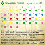 Image for the Tweet beginning: Calendario de #farmacias de guardia