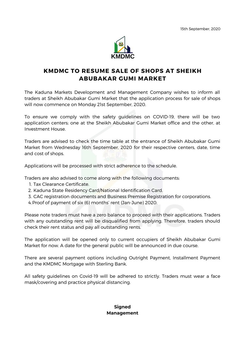 Applications for the  transfer of shops at Sheikh Abubakar Gumi Market to eligible traders on owner-occupier basis, will commence on Monday, 21st September 2020. https://t.co/lPPb9NVzY6