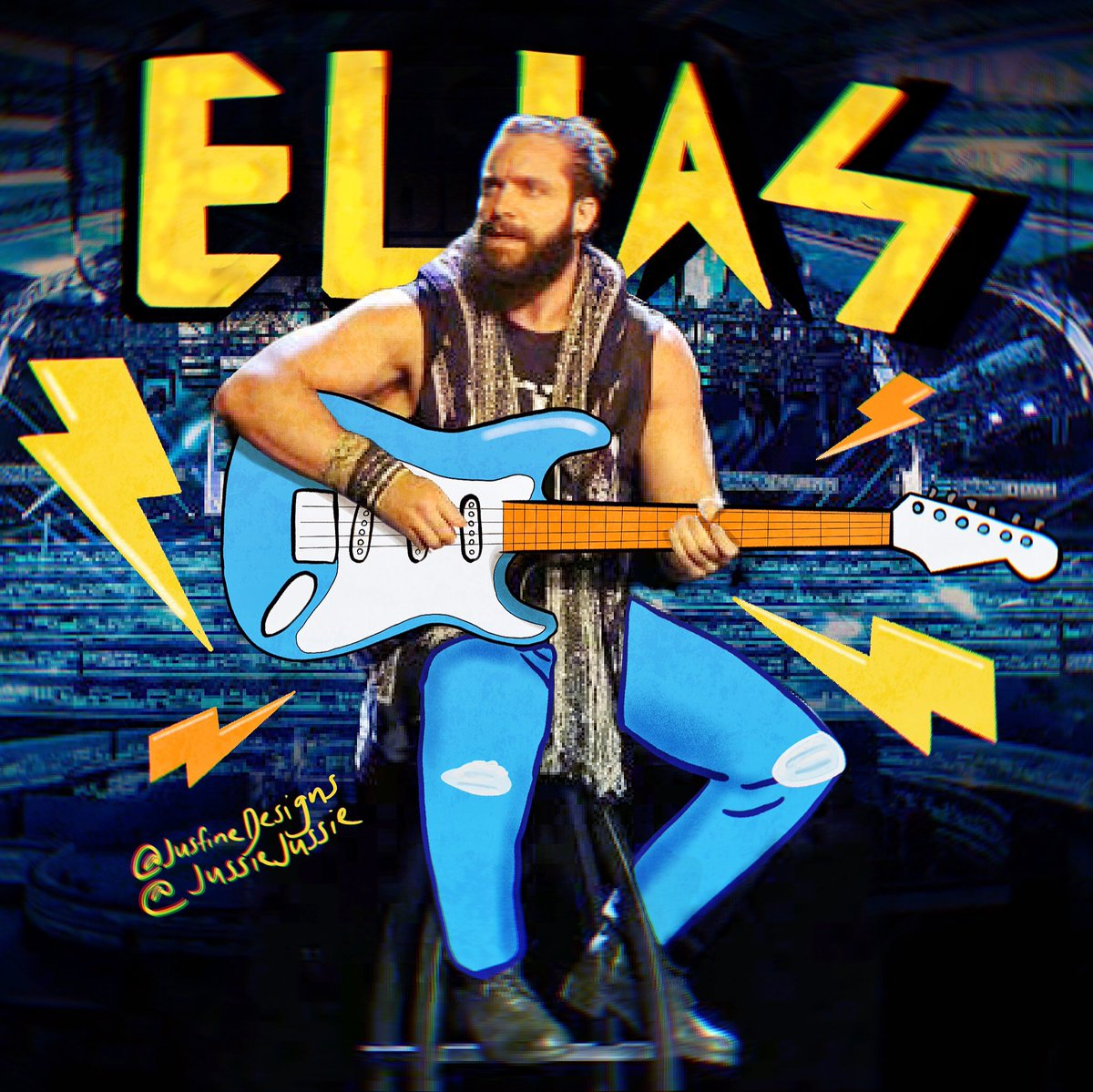 I really miss @iameliaswwe and I await his triumph return soon, hopefully in the Thunderdome! I made this illustration piece how I would imagine him rocking the place down with his electric guitar. ⚡️⚡️ 🎸 https://t.co/Utp7i6twIn