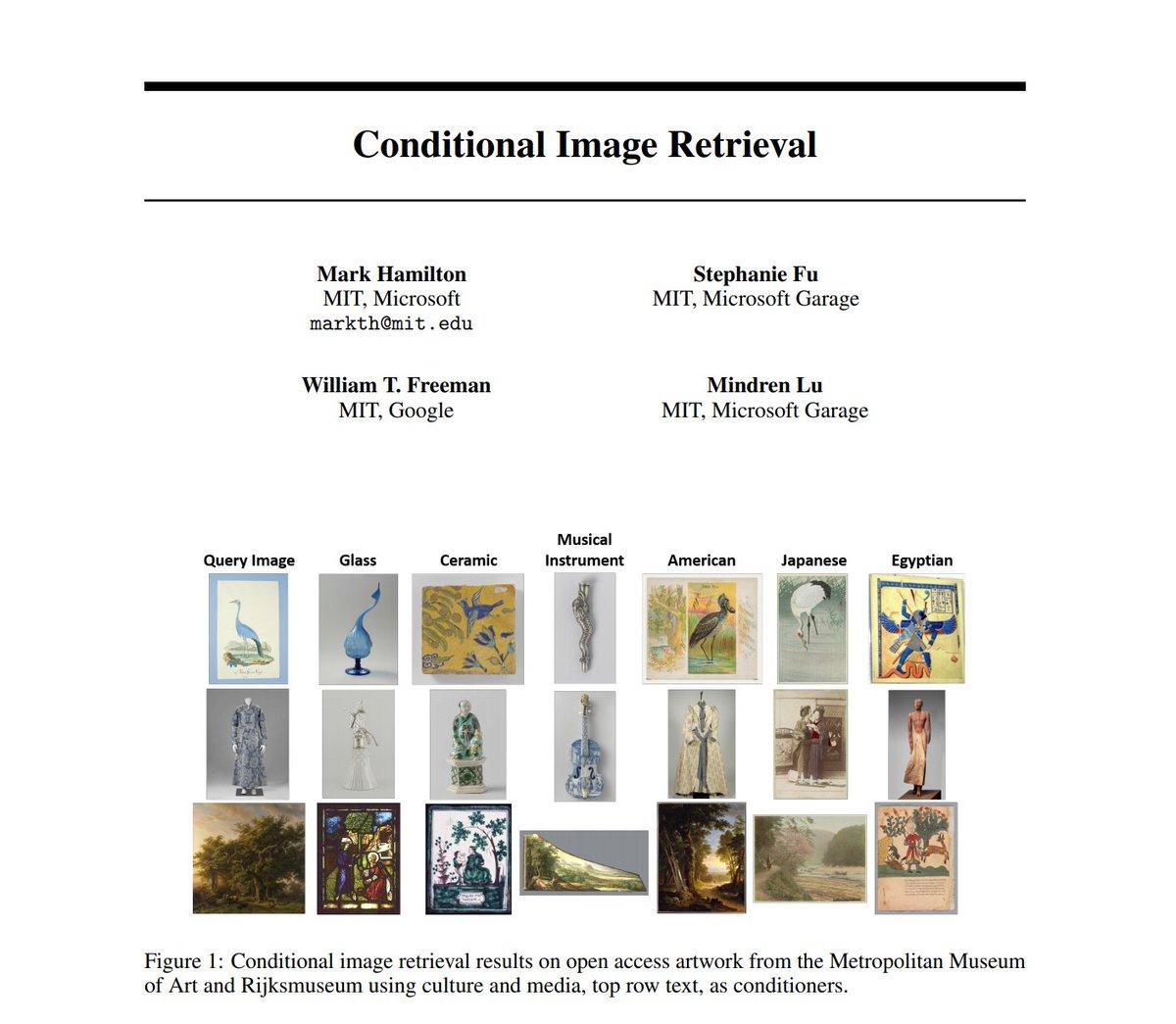 "[#FridayWiMLDSPaper 📜 curated by @lrnt_chloe] ""Conditional Image Retrieval"" by @mhamilton723, @xkungfu, William T. Freeman & Mindren Lu 🔗  #WiMLDSParis #WiMLDS #WomeninSTEM #MachineLearning"