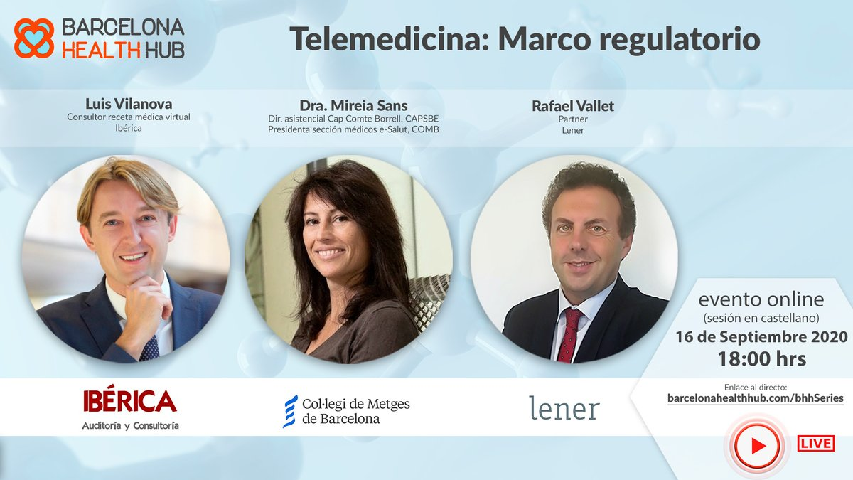 "It's showtime today at 6pm! Join us for the next #BHHSeries free event and discover more about ""Telemedicine: regulatory framework""! Rafael Vallet will discuss the topic with @lvilanovab and @MireiaSansC. Don't miss it and tune in at 6pm here: https://t.co/Q89NXedKCS  #innovation https://t.co/tXZf671QB0"