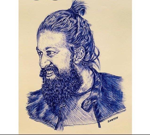 Amazing Art Work Of @TheNameIsYash BOSS 👌👌😎  #KGFChapter2 #YashBOSS #Yash https://t.co/zo9oaroEsL
