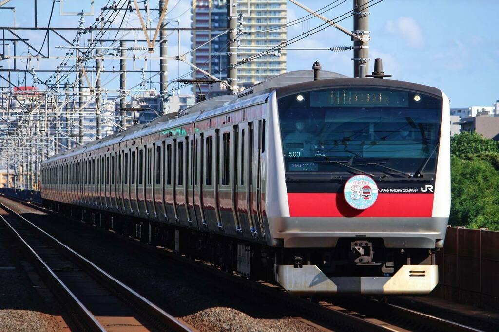 全線開業30周年ヘッドマーク😁  もう30年経ったんですね。  #京葉線 #e233系 #e233系5000番台 #30周年 #jr東日本 #検見川浜 #千葉市 #美浜区 #千葉 #写活 #keiyoline #chiba #trainphotography #railstagram #my_eos_photo #mycanon365 https://t.co/BLnUqC1ViE https://t.co/pYzK6D9efd