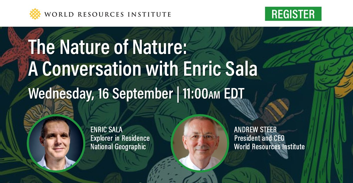 Join @Enric_Sala and @AndrewSteerWRI for a dive deep into the enormous risks to human health posed by our relationship with nature and why saving the earth's wild places can help save humanity.  TODAY | 11:00am EDT  Register: https://t.co/PJxJhgLtIV https://t.co/Dlxp6ARNC3