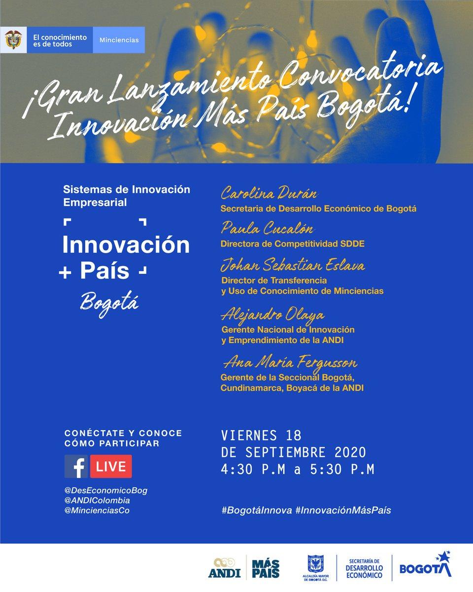 ¿Tiene su empresa una estrategia de innovación? Este viernes 18 de septiembre de 4:30 a 5:30 pm, conéctese al #FBLive de lanzamiento del proyecto Innovación Más País Bogotá, en el que 20 empresas capitalinas podrán recibir recursos para su estrategia: https://t.co/SdEsTxqVVT https://t.co/pNez3M96A1