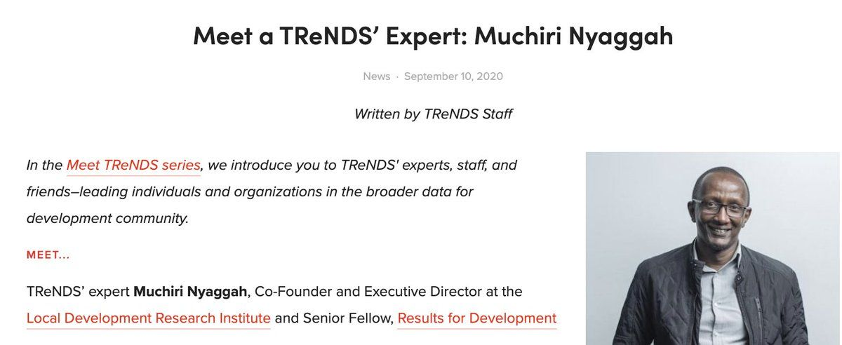 Meet the newest TReNDS' expert member, @muchiri, Co-Founder and Executive Director of @ldriafrica and Senior Fellow at @results4dev, Learn more about his work with #AI, #opendata, and #genderdata in @sdsn_TReNDS latest blog: https://t.co/xP9Yhrf6qF https://t.co/B3404IZ4G8