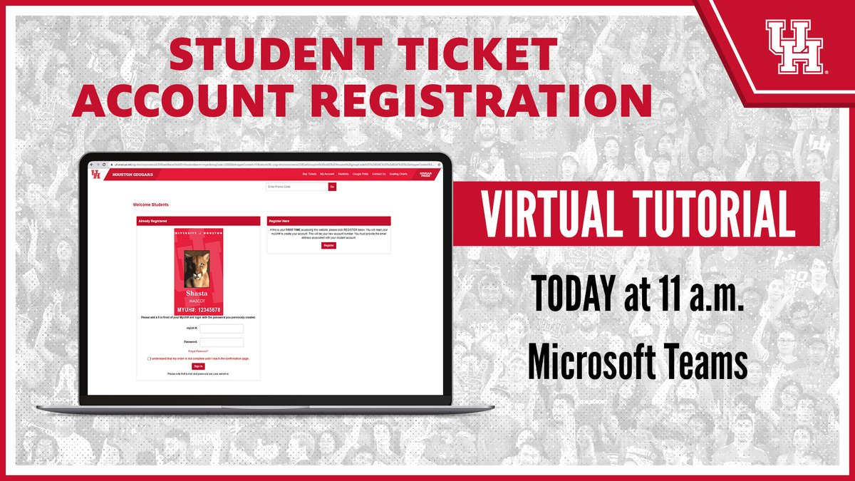 We are hosting our first virtual tutorial for student ticket account registration in less than an hour!   @UHouston students, check your email for the link.  #GoCoogs https://t.co/OJoKSpVYmn