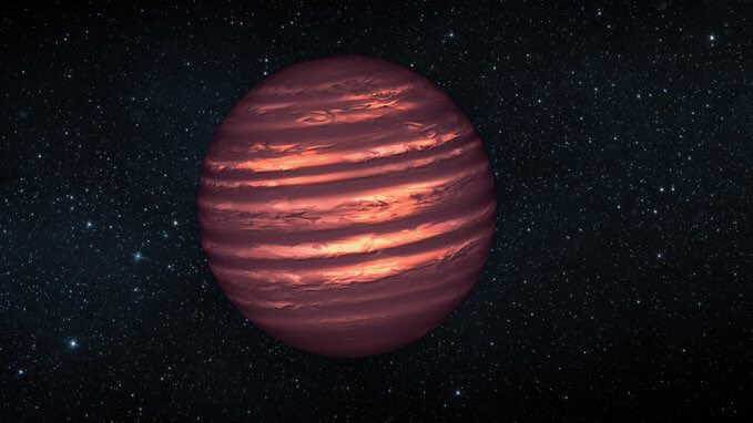 #BrownDwarfs are objects less massive than small #stars and more massive than big #planets.  They have #atmosphere and clouds according last studies like this one of Etienne Artigau (Montreal): https://t.co/JyPA6nV21C  Image, Artist's conception NASA/ESA/JPL. https://t.co/6iq17JEBnv