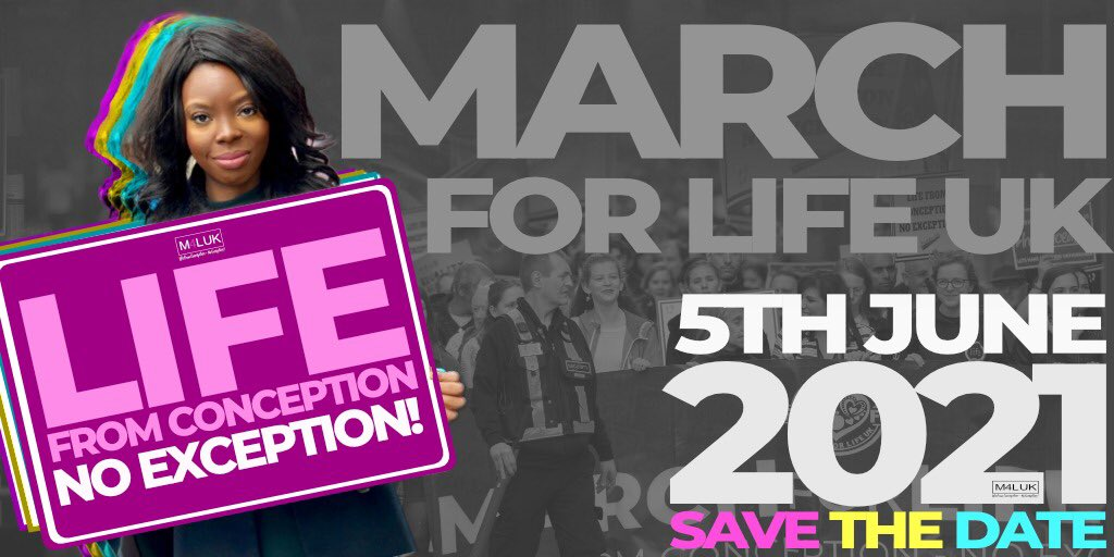 We are so excited to announce  📢SAVE THE DATE!!! Next year's March for Life 📢   *5th June 2021*   #London #UK  #Lifefromconceptionnoexception #HumanRights  #Whywemarch  #Lifeisprecious  #Prolife  #endabortion https://t.co/PbheBiCmAx