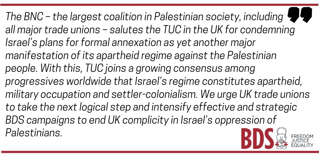 Great news! UK's @THE_TUC, representing over 5.5 million working people from 48 unions, just passed a motion opposing Israel's annexation and apartheid, and calling for sanctions. #TradeUnionSolidarity #SanctionsOnApartheid   @PSCUpdates press release: https://t.co/3YNUBEOsEY https://t.co/uaMI058Cwf