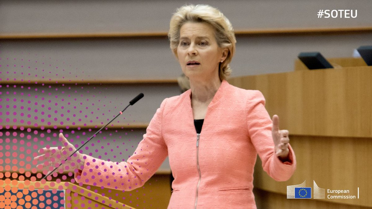 President @vonderleyen gave her #SOTEU address today.  She pledged that we will drive a sustainable and transformational recovery. It will give Europe a global platform to lead economically, environmentally and geopolitically.  Read the highlights here: https://t.co/GqEzddrVCM https://t.co/s91YwoXQh8