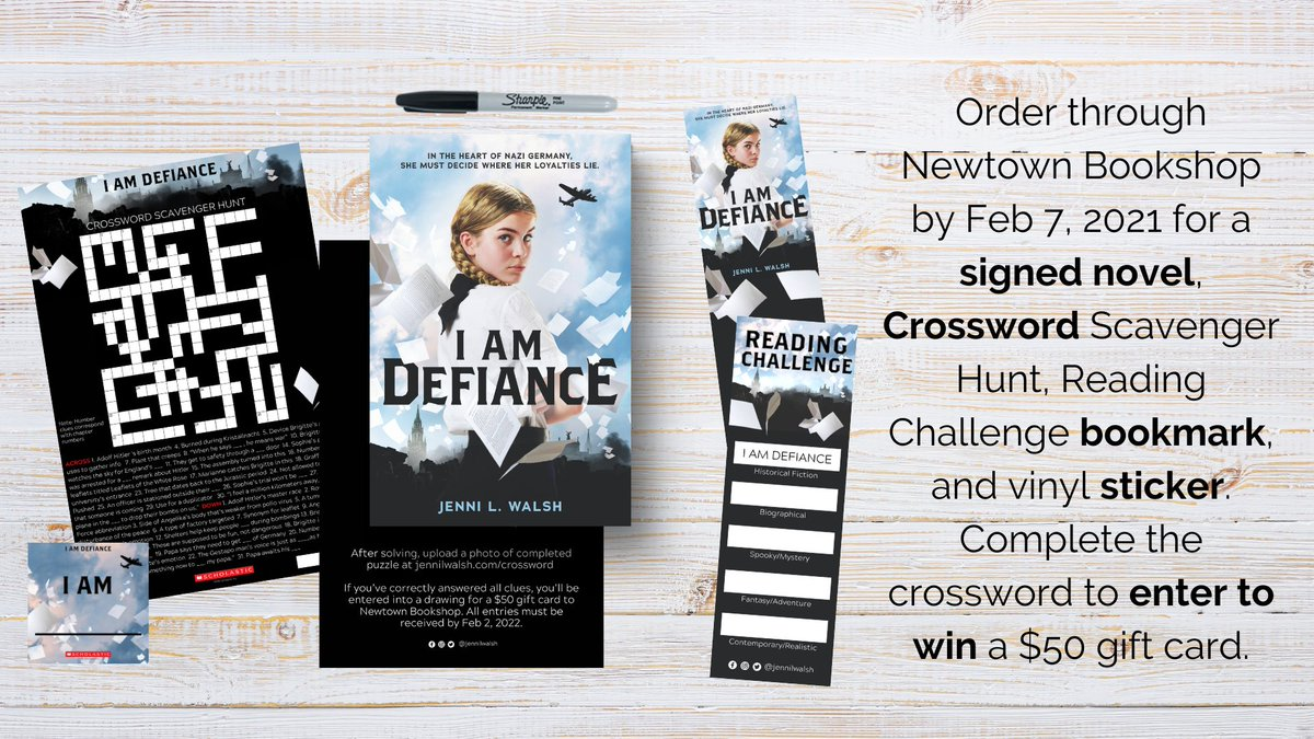 *rubs hands together* Im so excited for #IAmDefiance (@Scholastic) & equally excited to gift some swag! ⠀⠀⠀⠀⠀⠀⠀⠀⠀ See photo for what you can snag when you order through @NewtownBookshop by 2/7/21! More details jennilwalsh.com/i-am-defiance