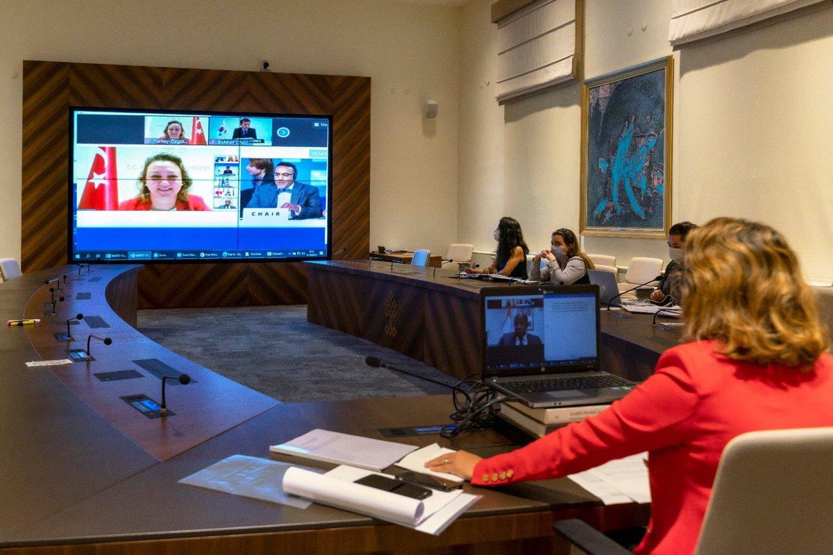 Dünya Turizm Örgütünün 112. Yürütme Kurulu toplantısına video konferansla katılarak ülkemiz adına @UNWTO'nun çalışma programının uygulanmasına ilişkin çeşitli değerlendirmelerde bulundum.  #UNWTOECGEorgia #UNWTOEC  @TCKulturTurizm  @UNWTO https://t.co/7jt4wSHTk3
