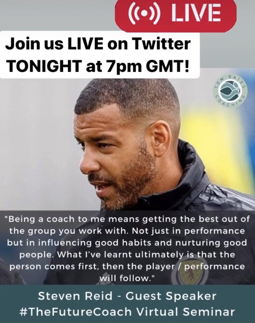 ⚽️ Join @stevenreid12 & I this evening at 7pm GMT LIVE 🎥 here on Twitter to hear more about our virtual seminar #TheFutureCoach & much more! ⚽️ We'll be ready to answer your coaching questions & reveal a special give away from @TomBatesCoachng ⚽️ https://t.co/wtjcTuZCHl