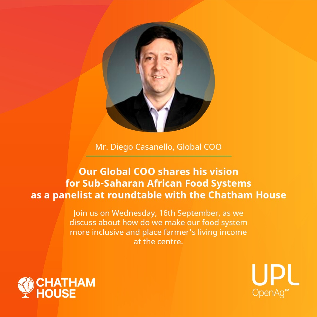 Our Global COO, @dcasanello is a panelist at the roundtable with @ChathamHouse. He will share his wisdom & talk about UPL's efforts in creating a robust food system that is sustainable, nutrition-supporting & resilient.  Learn more- https://t.co/xIjvf0C92J  #FoodSecurity #UPLP4S https://t.co/UrUoLJX4ts
