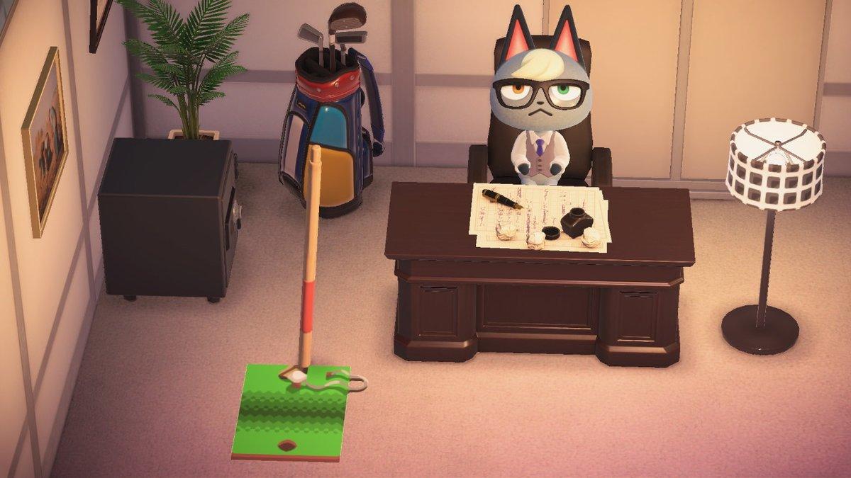 隔日マイデザー!本日もたかとびぼうと合わせて飾るデザイン!ゴルフの練習マットを作りました!ゴルフバッグと合わせて、社長室や運動施設などにどうぞ! #どうぶつの森 #AnimalCrossing #ACNH #NintendoSwitch #マイデザイン