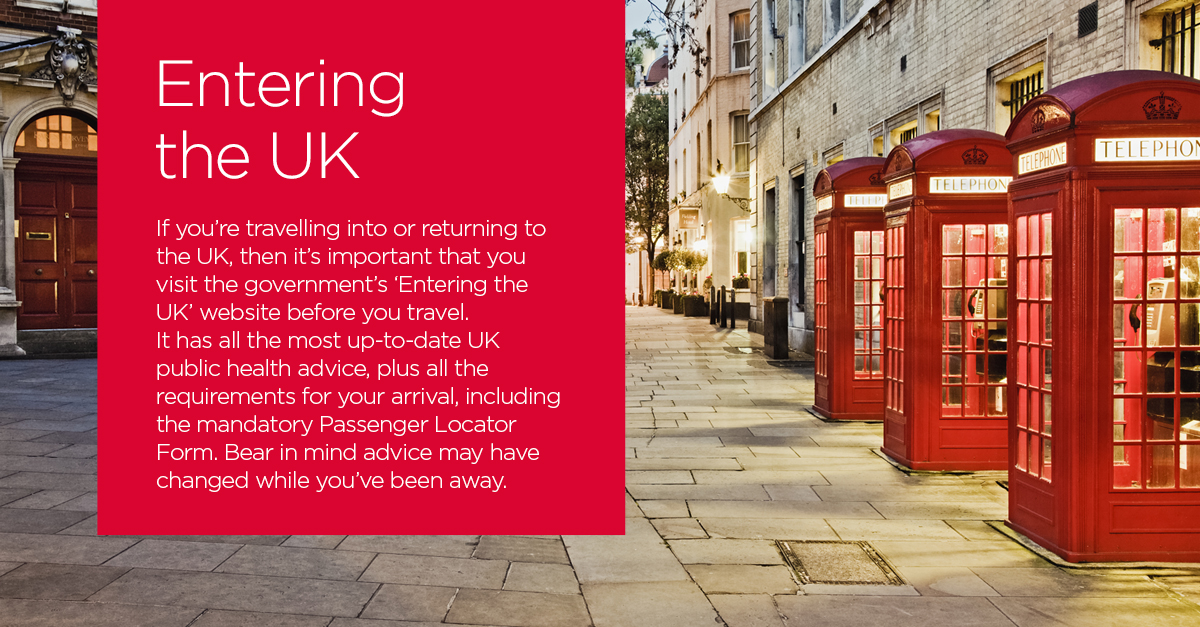 If you're travelling into or returning to the UK, please visit the government's 'Entering the UK' website before you travel for information on all mandatory arrival requirements: https://t.co/pvnvYwAlN0 https://t.co/KZN7BuLCcD