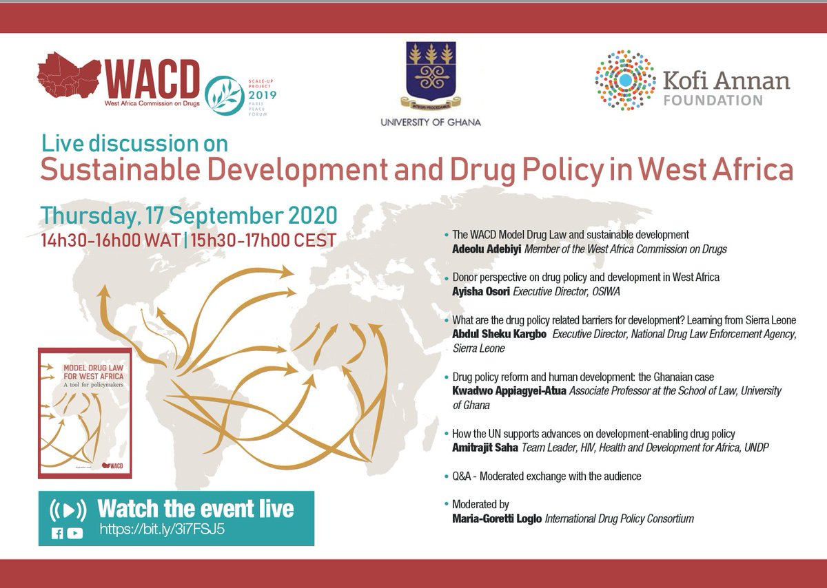 🔜Scale-up project Model Drug Law from the @globalcdp alongside @KofiAnnanFdn is hosting a webinar to gather experts from #WestAfrica to discuss the future of #drugpolicy in the region & its connection to the #SDGs!  🗓️RDV tomorrow LIVE on FB & Youtube👉https://t.co/OjpMKqOwqQ https://t.co/31TS7zCoBd
