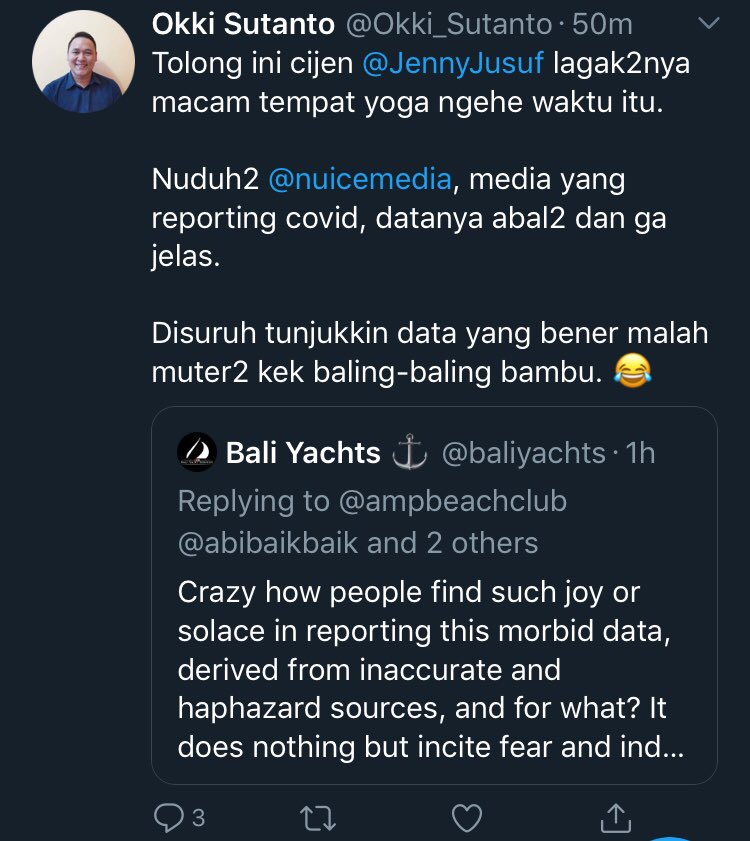This loser got told he was talking crazy by the people he RT so deleted his tweets with @baliyachts   Unfortunate to have such losers on this platform, that just try and cause problems like @Okki_Sutanto does. Should be more careful... https://t.co/8bZnnoXV51 https://t.co/mrIGTFipTC