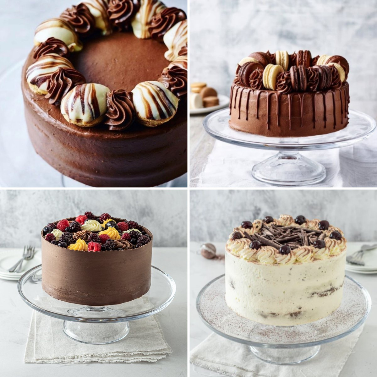 Here's our top four most loved cakes at the moment! 🍰   Classic Habana, Triple Chocolate Gateau, Double Chocolate Dream & our gorgeous Black Forest Gateau – All chosen by you!  Order yours now: https://t.co/tGuVjbGb4o https://t.co/CoQi8NBTua