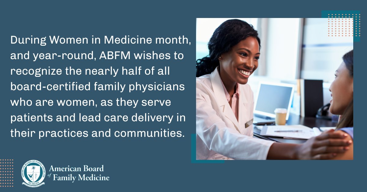 September is Women in Medicine Month.  Join us this month  in celebrating all the amazing family physicians who are women. #familymedicine #womeninmedicine #WIMMonth #ABFM https://t.co/5dEiPqTPE4