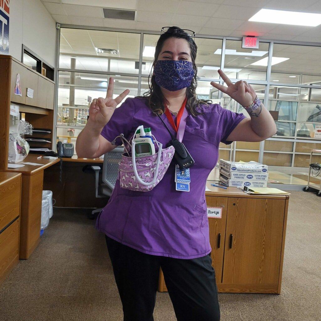 Nurse Bronson is ready for the day!!❤️🐯#wearemcstrick #tigerpride #cfbisd #schoolnurse #nurselife