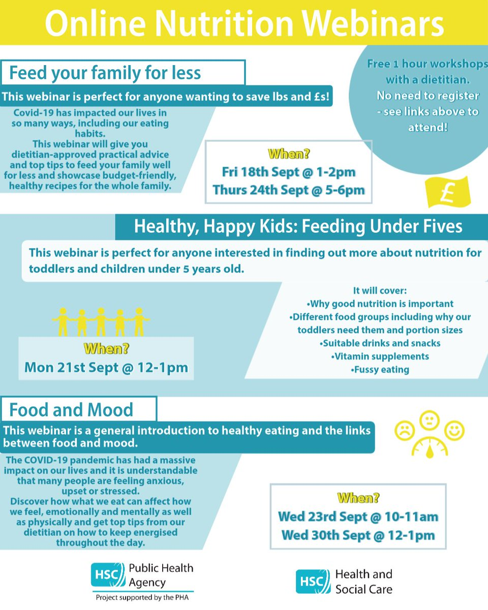New nutrition webinars👇  Feed Your Family For Less 💰  Friday 18th Sept @1-2pm: https://t.co/LcEidnF1HS  Thursday 24th Sept @5-6pm: https://t.co/1ZDuQZXPlo   Healthy Happy Kids: Feeding Under 5s 👶 Monday 21st Sept @ 12-1pm: https://t.co/8fCtwgzCDH   Passcode: 900682   (1/2) https://t.co/XibVfUEbs0