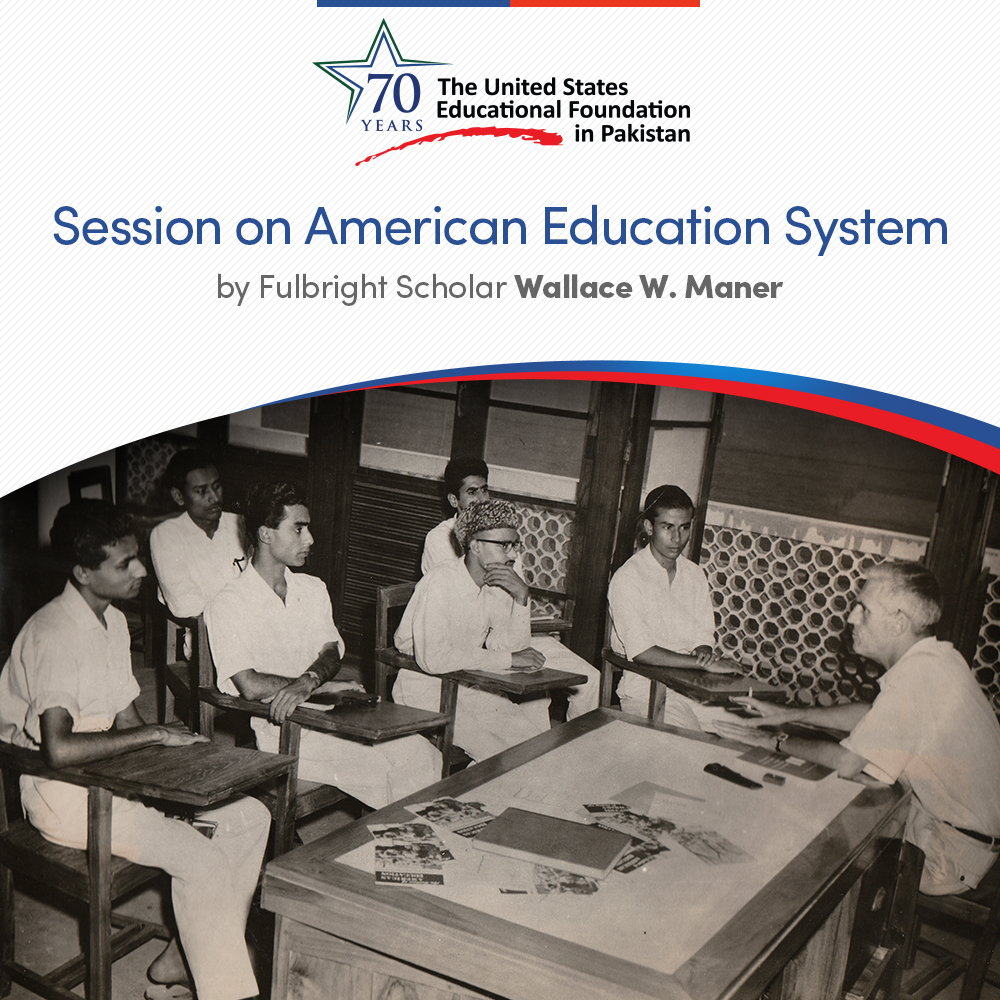 In the 1950s, a #Fulbright grant was awarded to Wallace W. Maner, a foreign student adviser at the State University of Iowa. During his exchange program, he did extensive student counseling and sessions on the American education system.  #USEFP70 #USPAK #Partners4Prosperity https://t.co/tWn2WAa5RN