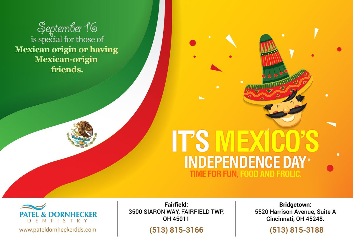 #Mexico's independence from Spain in 1810 is celebrated by Mexican-origin people all over the world including in the US. It's a fun-filled day with parades, food and fireworks. #Mexicoindependenceday #fairfield #TWP #patelanddornhecker https://t.co/RrBM5zvYdq