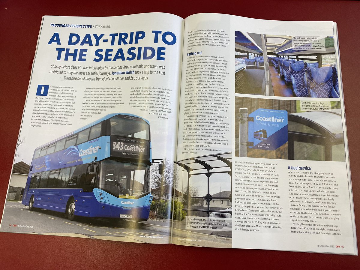 Read all about it! A Coastliner Cover Story in the latest copy of @CBWtweets made for great lunchtime reading.   More evidence of the amazing work of our @yorkbus team. 💪 https://t.co/pBvhtB0DI6