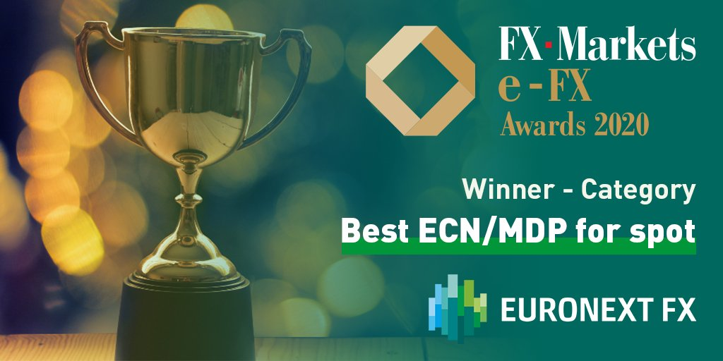 "🏆 Delighted to announce that Euronext FX has won the Best ""ECN/MDP for spot"" in the #FX Markets e-FX awards 2020.  ⚡ Despite high volatility in the last few months, Euronext FX's ECN has shown strong resilience by maintaining market leading order processing speeds. https://t.co/gMXR8bFvk6"
