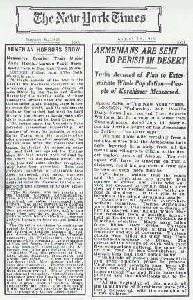 "#Armenian #Genocide #Turkey  Crime Against Humanity  What newspapers were saying during #ArmenianGenocide  The ""New York Times"" #NYtimes  ""Armenian Horrors Grow"" August 6, 1915  ""Armenians are Sent to Perish in Desert"" August 18, 1915 https://t.co/HCJUmUzp2r"
