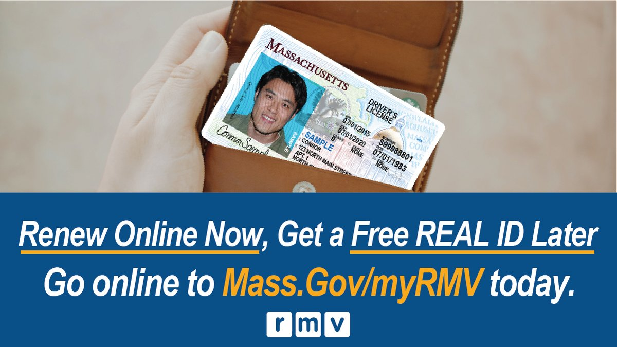 Customers who renew for a 'standard' Massachusetts driver's license/ID card online between June 12 & the date when the State of Emergency ends, will be able to upgrade to a REAL ID if they need it in 2021 at no additional charge. Pls visit https://t.co/ba1YeVo1HE for more info. https://t.co/XBhrnMD3QJ