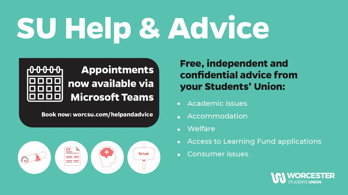 Get free, independent and confidential help and advice from your Students' Union advisor, Kate. Appointments are also now available via Teams. Visit https://t.co/UWmoKw0SGy for more information. https://t.co/5ZYlCzNv6t
