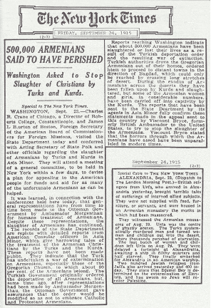 "#Armenian #Genocide #Turkey  Crime Against Humanity  What newspapers were saying during #ArmenianGenocide  The ""New York Times"" #NYtimes  ""500 000 Armenians Said to Have Perished"" September 24, 1915 https://t.co/IMjFg5xYnn"