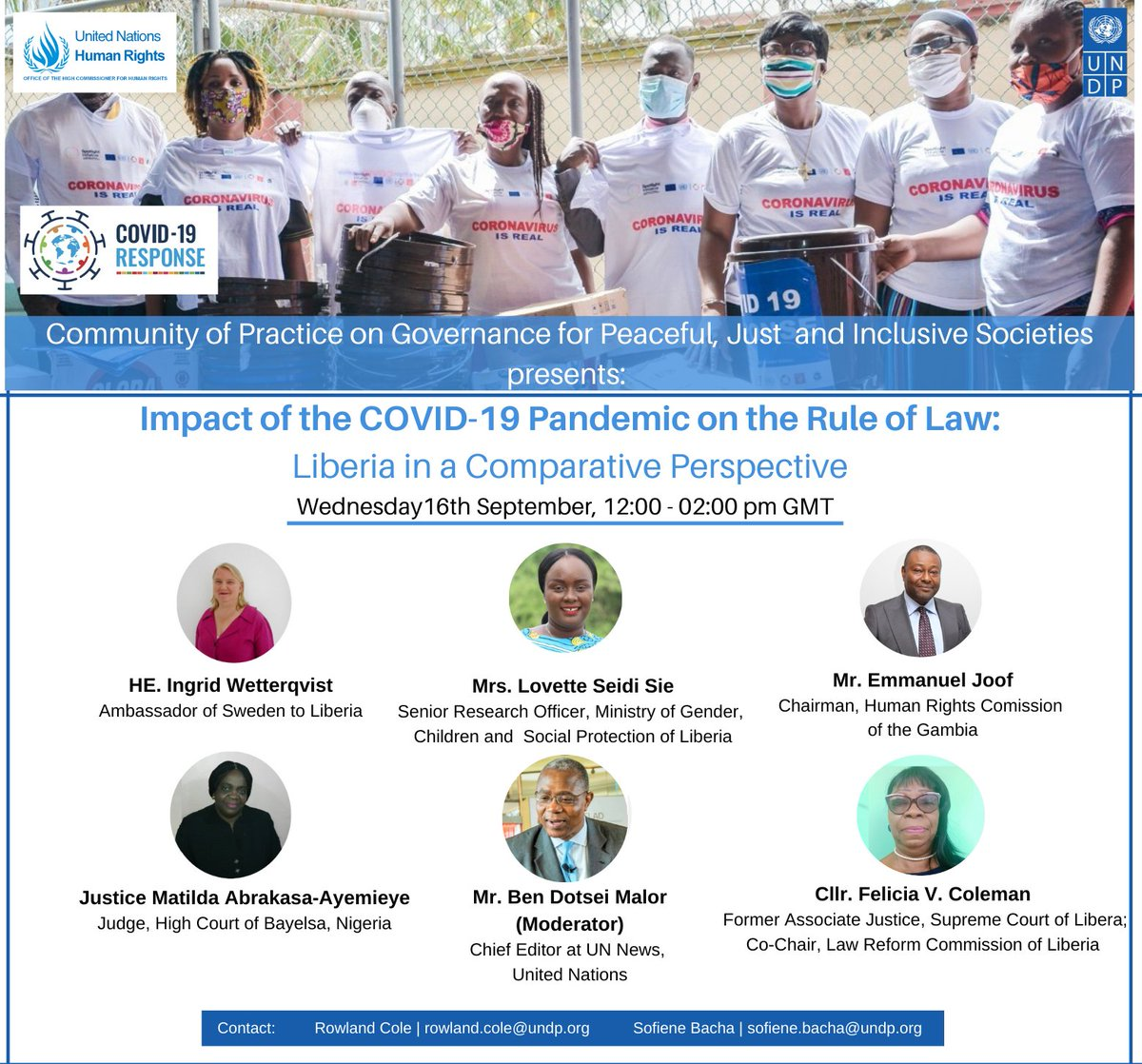"Webinar now on ""The Impact of the COVID-19 Pandemic on #RuleOfLaw - 🇱🇷 in a Comparative Perspective"" organized by @UNDPLiberia and @OhchrL 🙏@BMalor @ingwet @LovetteSie @JoofDaniel @rowland_cole @SwedeninLiberia @UNDP @ohchr @KatyThompsonROL #ROL4Peace #HumanRights #A2J #COVID https://t.co/aGYkvUQIn3"
