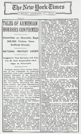 "#Armenian #Genocide #Turkey  Crime Against Humanity  What newspapers were saying during #ArmenianGenocide  The ""New York Times"" #NYtimes  ""Tales Of Armenian Horrors Confirmed"" September 27, 1915 https://t.co/8PCgycXWze"
