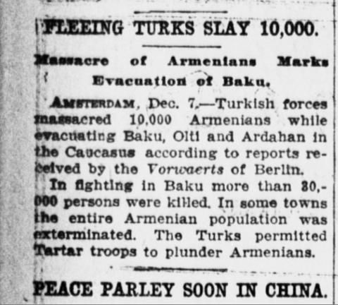 "#Armenian Genocide #Turkey  Crime Against Humanity  What newspapers were saying during #ArmenianGenocide  ""#Turkish Forces massacred 10,000 Armenians in #Baku"" https://t.co/rj2seI9Jge"
