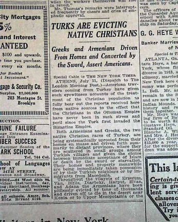 "#Armenian #Genocide #Turkey  Crime Against Humanity  What newspapers were saying during #ArmenianGenocide  The ""New York Times"" #NYtimes  ""#Turk s are evicting Native #Christian s"" July 12, 1915 https://t.co/GjMaRz9lwj"
