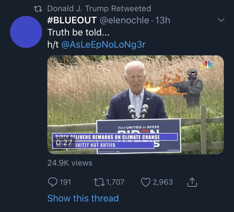 Trump (surprise!) retweets video that suggests Antifa is behind the recent wildfires, or is at least plotting to burn down the suburbs