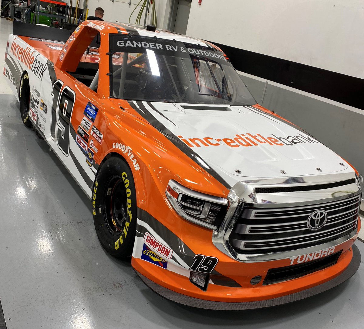 Look at this Bad Boy! The #19 Toyota Tundra truck is in the shop as the crew makes final preparations for @derek9kraus.  Race day is tomorrow at Tennessee's @BMSupdates, @IncredibleBank will be featured as the primary sponsor! @BMR_NASCAR #fastandfurious https://t.co/F35q5f2mah