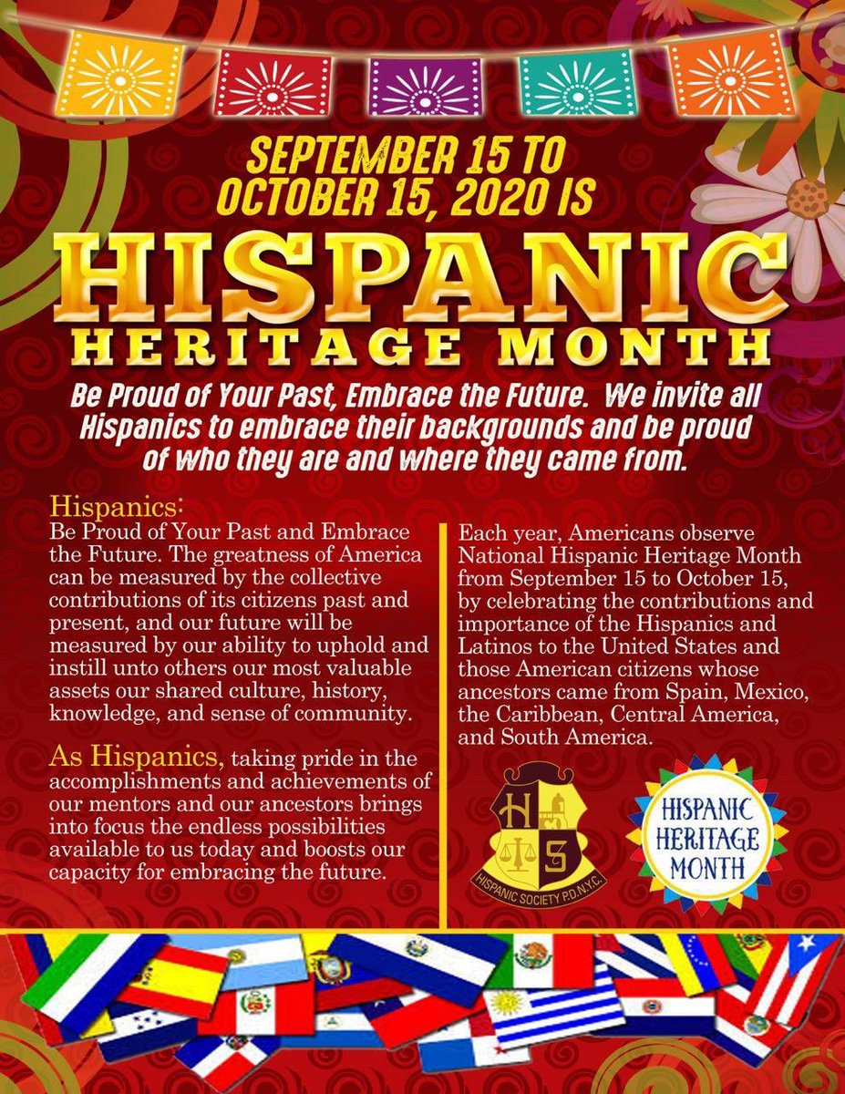 Be Proud ofYour Past,  Embrace the Future. We invite all Hispanics to embrace their backgrounds and be proud of who they are and where they came from.💙👮🏻♂️👮🏾♂️👮🏽👮🏻♀️🎉  #pazyunidad  #HispanicHeritageMonth2020 Happy Hispanic Heritage to All. https://t.co/xpHZs5OZzA