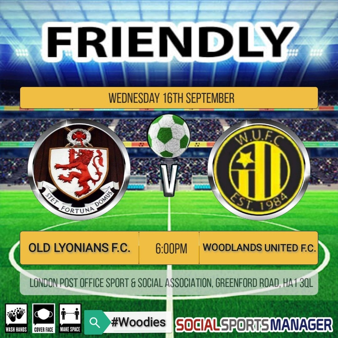 Tonight we have a friendly against @FcLyonians Kick off is at 6pm at LPOSSA, Greenford Road, HA1 3QL  #Woodies https://t.co/A27EeoBYdT