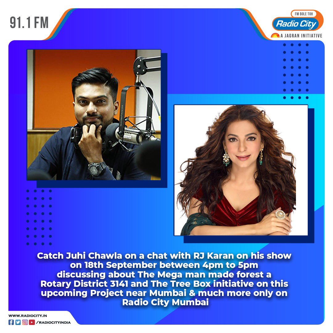Catch @iam_juhi on a chat with @RJKaran911 on his show tomorrow between 4pm to 5pm https://t.co/IiendNyei0