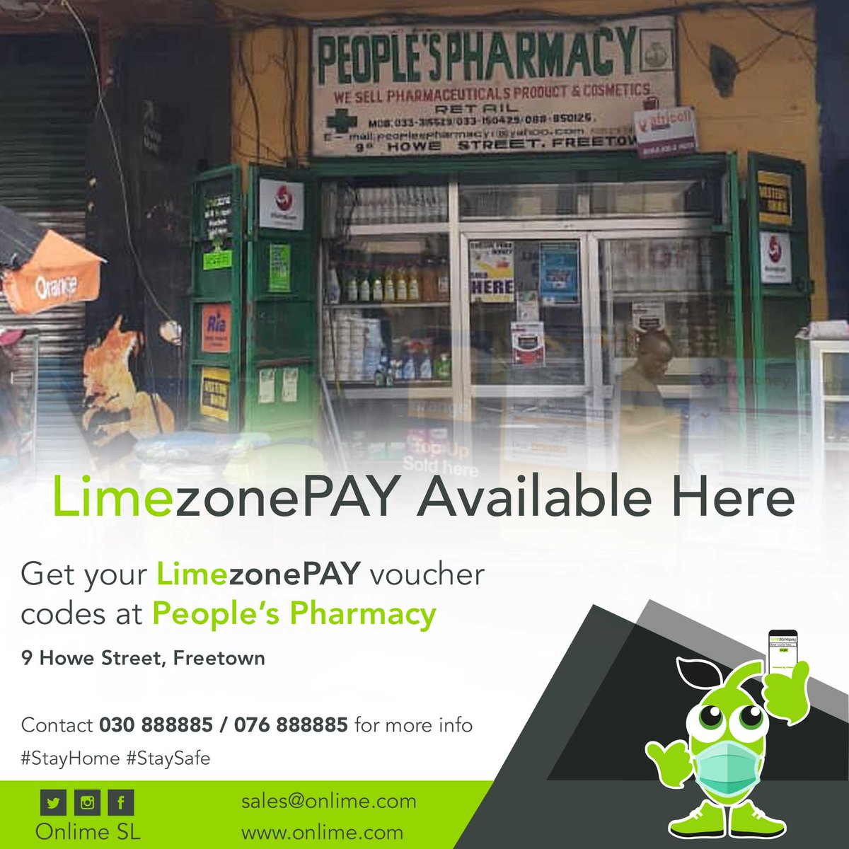 Get your LimezonePAY Voucher codes from People's Pharmacy 9 Howe Street. contact +23230888885 /+23276888885 for more info. #StayConnected #StaySafe #LimezonePAY https://t.co/ydecpJRsJG