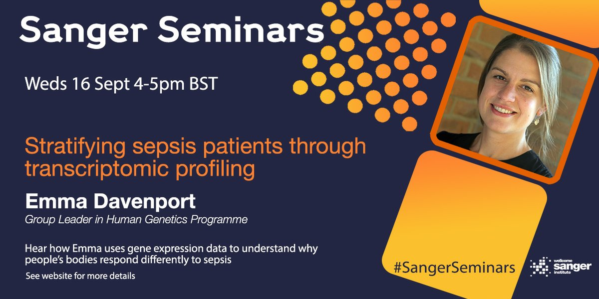 🚨 Join us in one hour 🚨 to hear from @ee_davenport on how she uses gene expression data to understand why people respond differently to sepsis 🧬🔬  🔗 Full info here 👉 https://t.co/GHKjAdD6TA  #SangerSeminars #ScienceTwitter #PrecisionMedicine #Sepsis https://t.co/MtpfQJZIHu