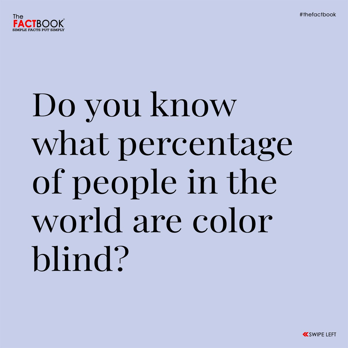 Do you know what percentage of people in the world are color blind?  3.84% of the world population! What number do you see here? If you saw any number other than 74, then you are colorblind!  An estimate of 300 million people are color blind in the world! #thefactbook #colorblind https://t.co/AwdZBGv4zN